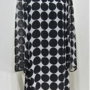 VOIR VOIR Black Polka Dot Shift Dress, sz 8, Class